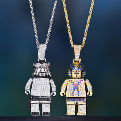 Limited Edition - Jesus Block and Pharaoh Block Pendant Set