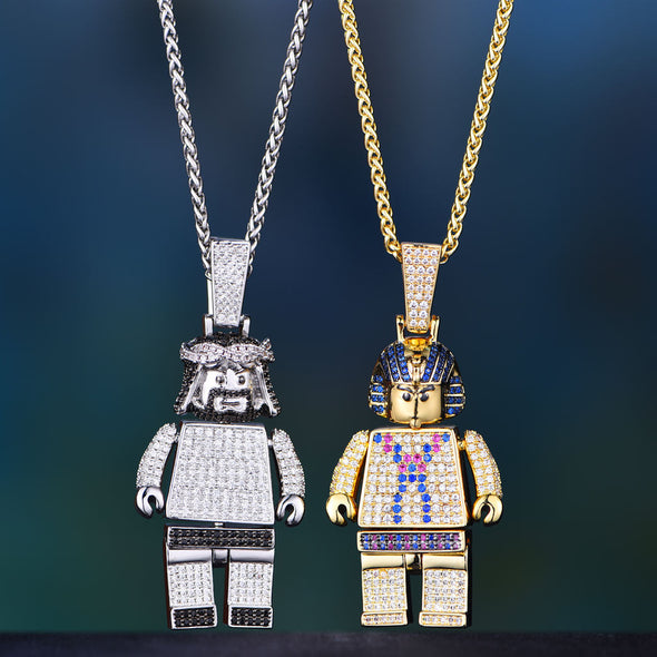 [Only 3 Pieces Left] Jesus Block and Pharaoh Block Pendant Set