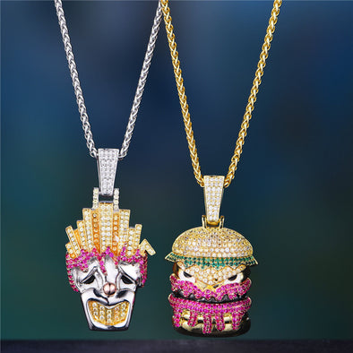Iced Funny Fries Clown and Hamburger Monster Pendant Set