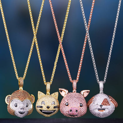 Animal Emoji Pendant 2-piece Set