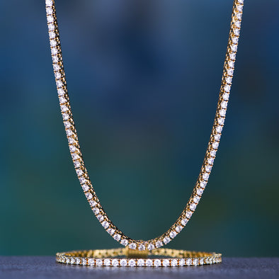 3mm 14K Gold Iced Tennis Chain and Bracelet Set