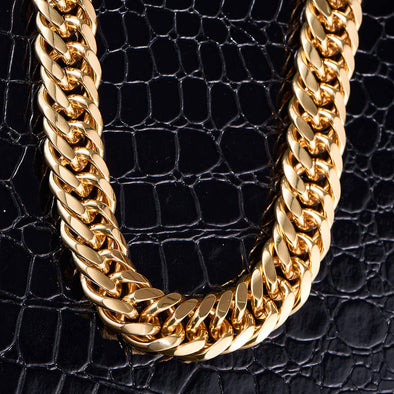 19mm 18K Solid Gold Cuban Link Chain