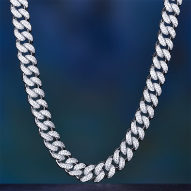 12mm White Gold Iced Out Children Cuban Link Chain
