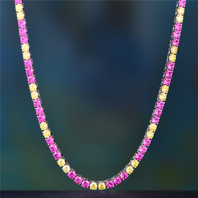 White Gold Colored Tennis Chain With Red And Yellow Stones