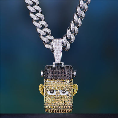 Limited Edition - Iced Cartoon Frankenstein Pendant