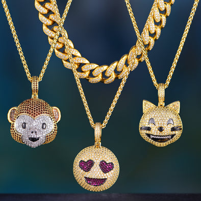 14K Gold Iced Cuban Chain And Emoji Set
