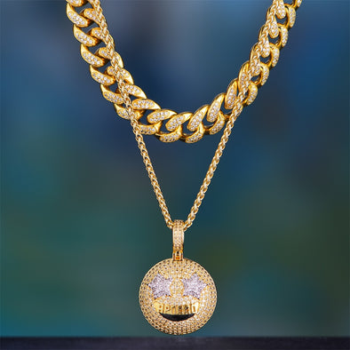 14K Gold Iced Out Cuban Chain And Emoji Set