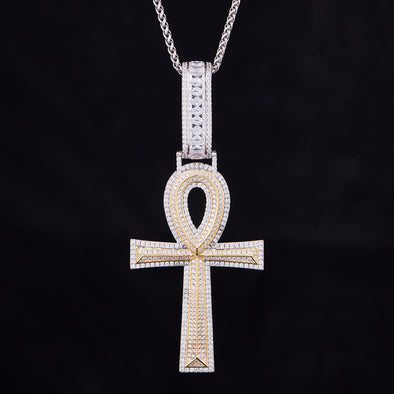Iced Ankh Pendant in 925 Sterling Silver