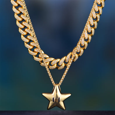 14K Gold Iced Out Cuban Chain And Pendant Set