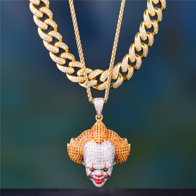stylist iced out pendant and cuban link chain Aporro