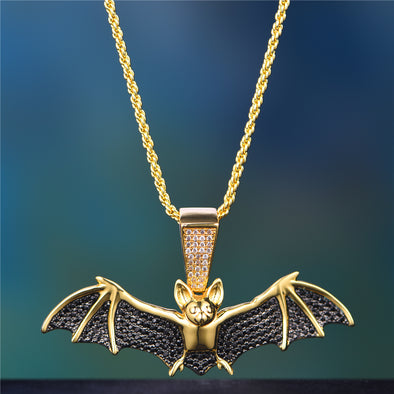 14K Gold Iced Bat Pendant