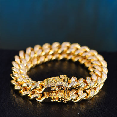 12mm 14K/White Gold Iced Cuban Link Bracelet Set