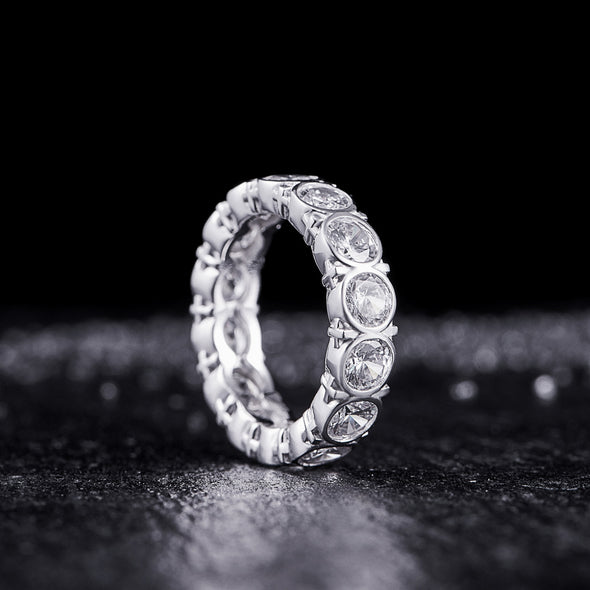 Cross Eternity Ring in 925 Sterling Silver