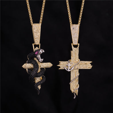 14K Gold Iced Python Cross and Anchor Cross Set