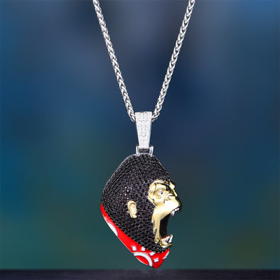 White Gold Iced Out Roaring Ape Pendant