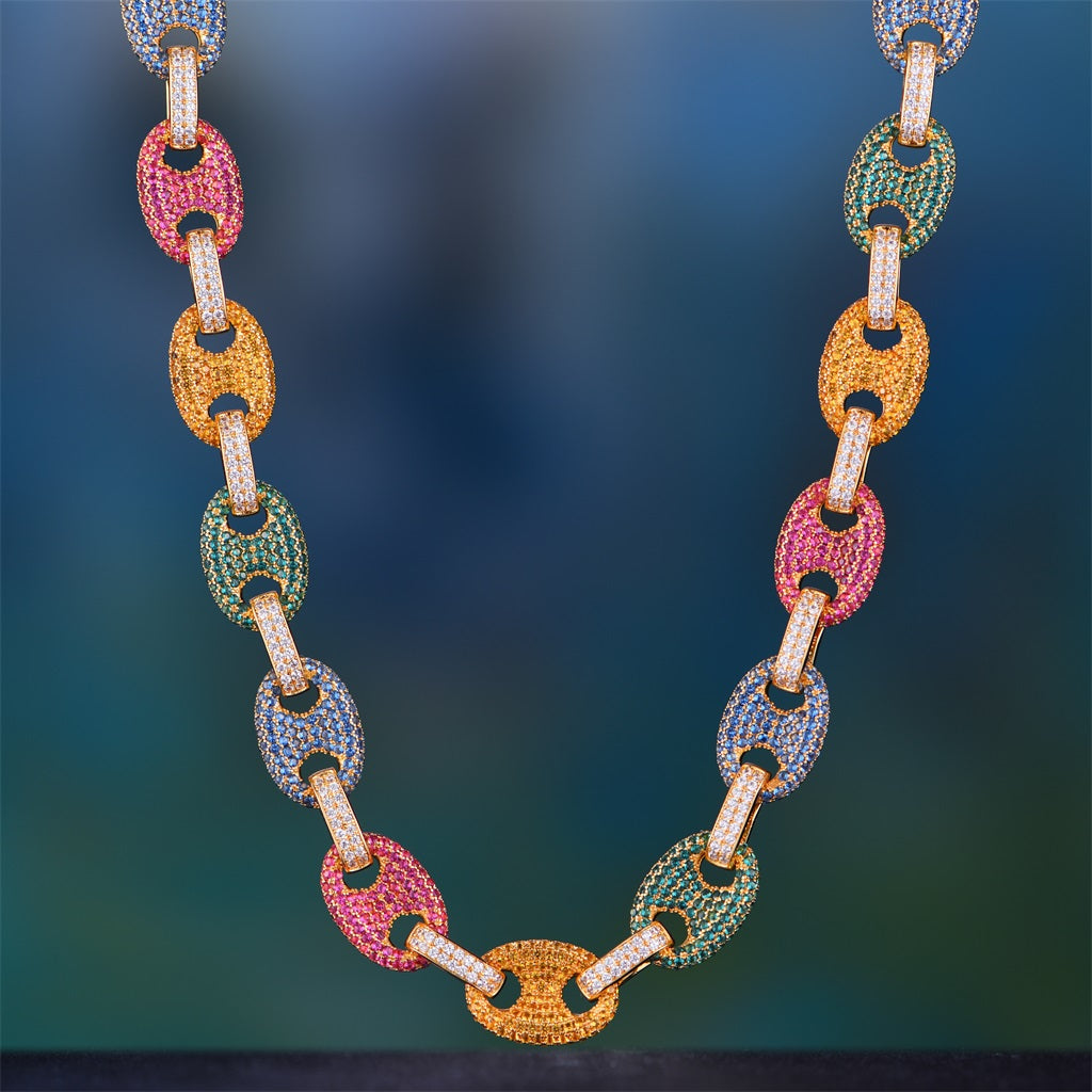 fc8c37b6301fa 12mm 14K Gold Iced Multi-color G-Link Chain