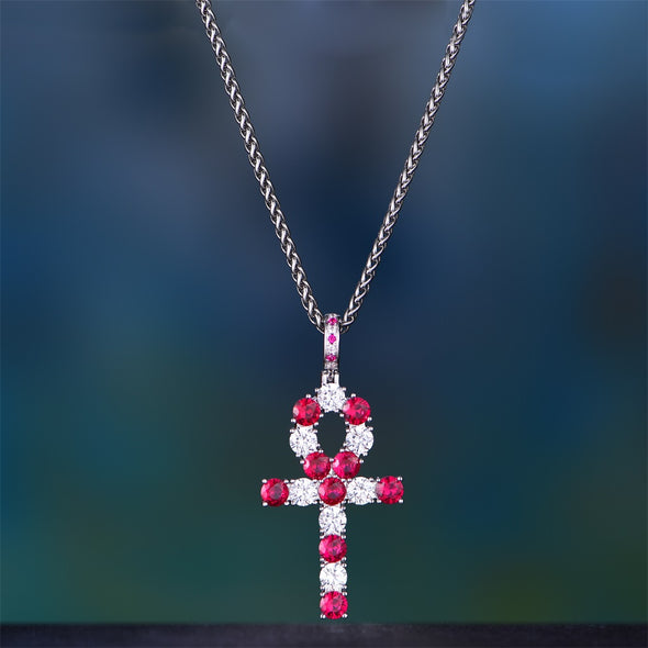 White Gold Iced Out Ankh With Red Stones