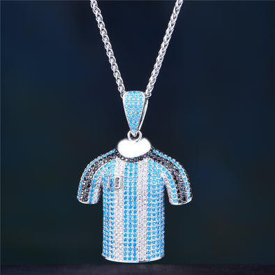 White Gold Iced Out Jersey Necklace