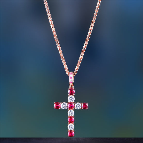 Rose Gold Iced Out Tennis Cross With Red Stones
