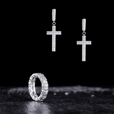 [Cross Set] Eternity Ring and Earrings