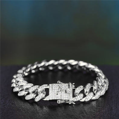 Cool White Gold Iced Out Cuban Bracelet Aporro