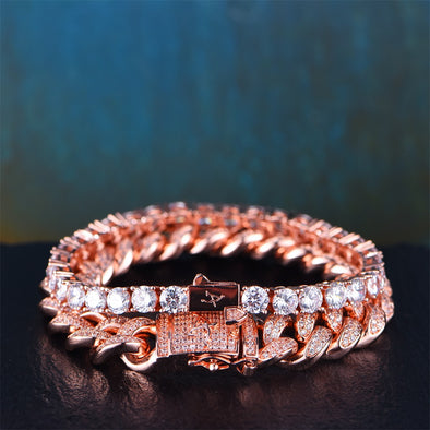Rose Gold 12mm Iced Cuban and 5mm Tennis Bracelet Set