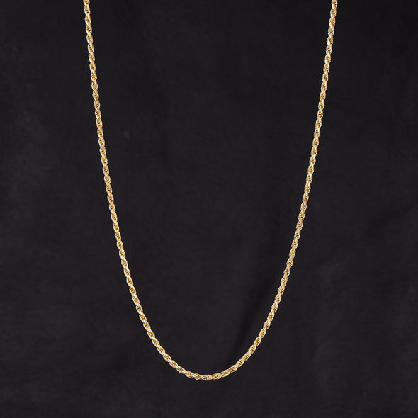 2.3mm Rope Chain in 925 Sterling Silver (14K Gold Plated)