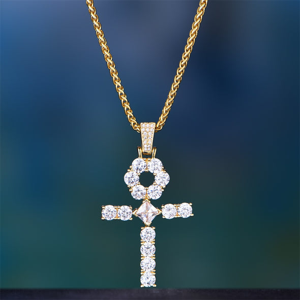 14K Gold Iced Big Ankh Pendant