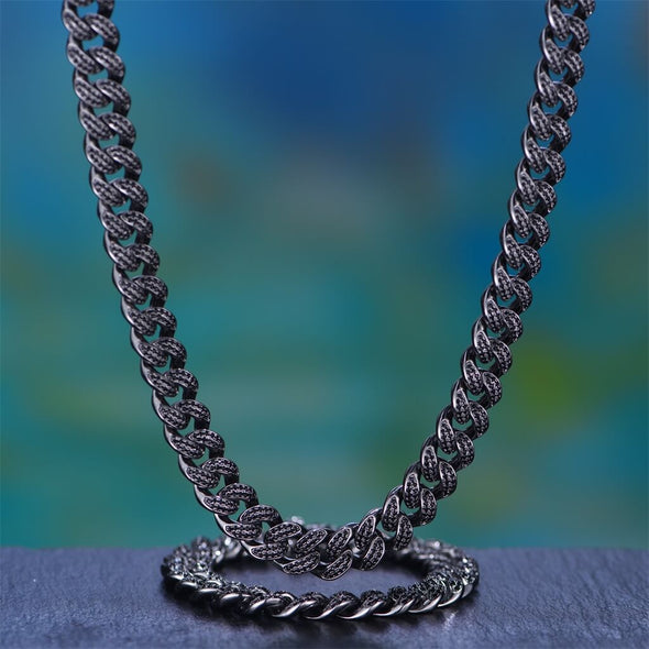 12mm Black Iced Cuban Chain And Bracelet Set