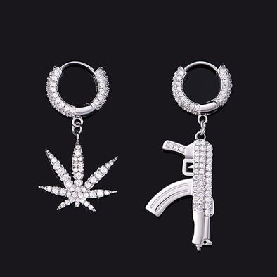 Iced Cannabis and Draco Earrings In 925 Sterling Silver