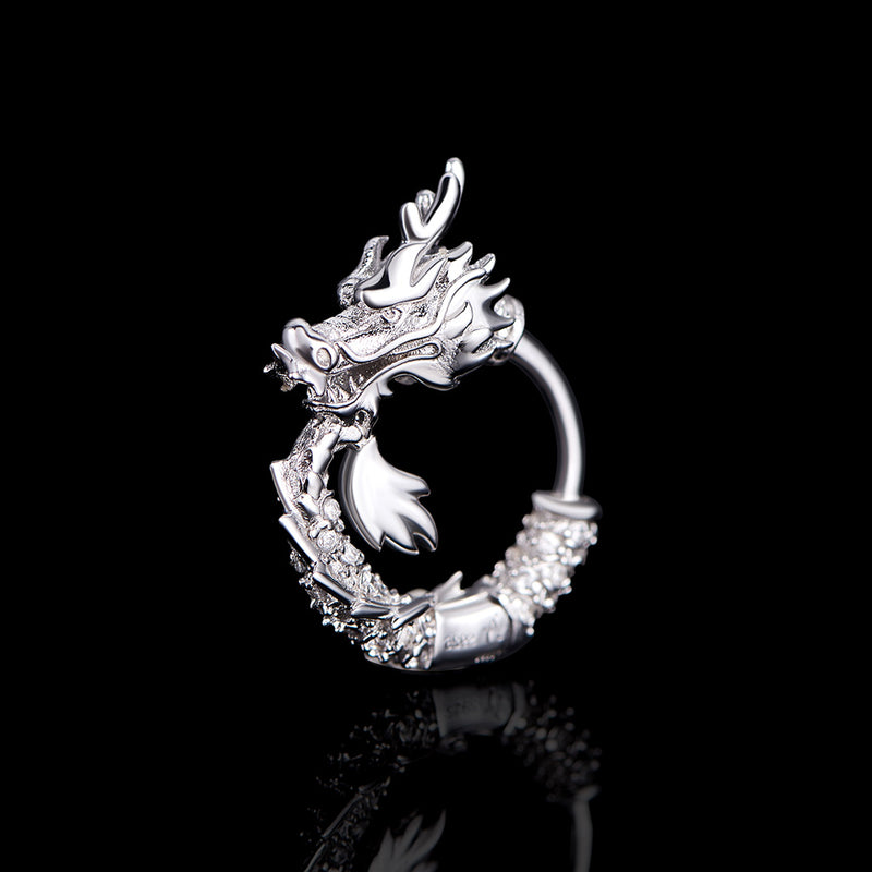 WONG-Iced Dragon Hoop Earrings (Infinite Loop)