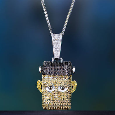 Iced Cartoon Frankenstein Pendant