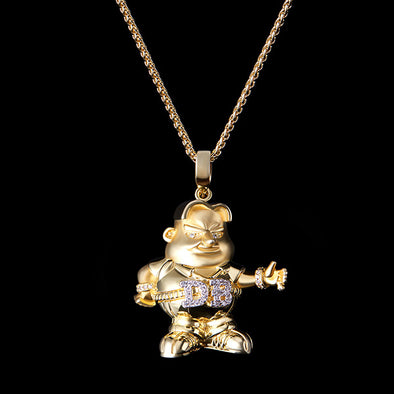 14K Gold Iced D-boy Pendant