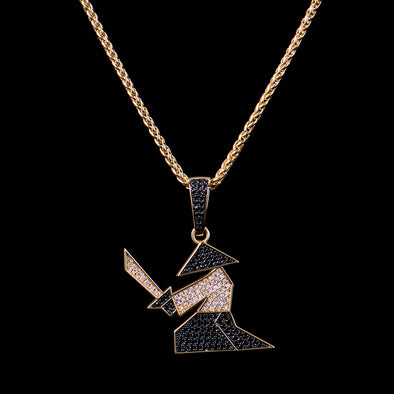 14K Gold Iced Warrior Pendant
