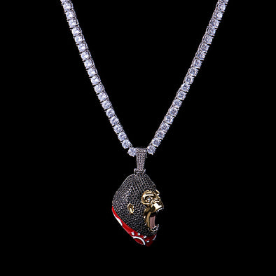 [Only Ship to US] White Gold Iced Roaring Ape Pendant