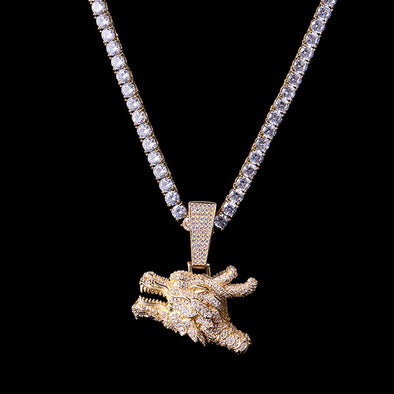 925 Sterling Silver Iced Chinese Dragon Whistle Pendant (Ship Out on Oct 7th)
