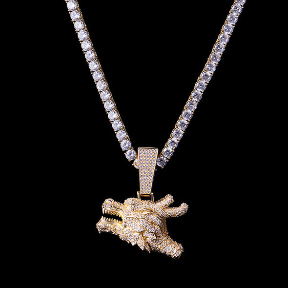 925 Sterling Silver Iced Chinese Dragon Whistle Pendant