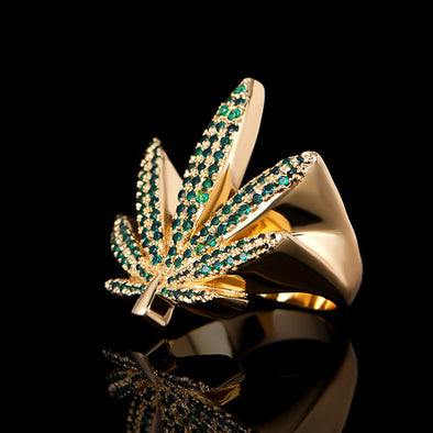 14K Gold Iced Cannabis Leaf Ring