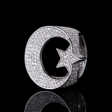Iced Star and Crescent Ring in 925 Sterling Silver