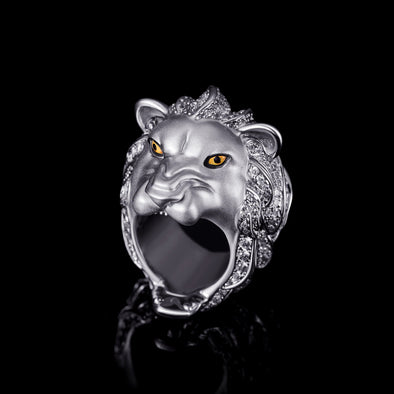 White Gold Iced Roaring Lion Ring