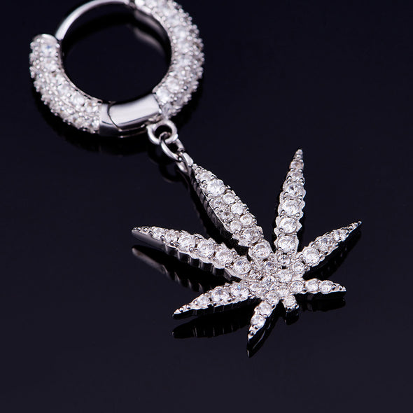 Iced Cannabis Earrings in 925 Sterling Silver