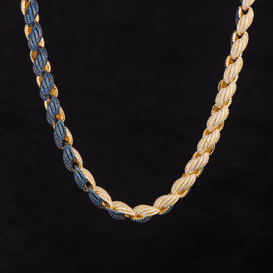 [MADE TO ORDER] 10mm Iced Two Tone Rope Chain-Blue&White