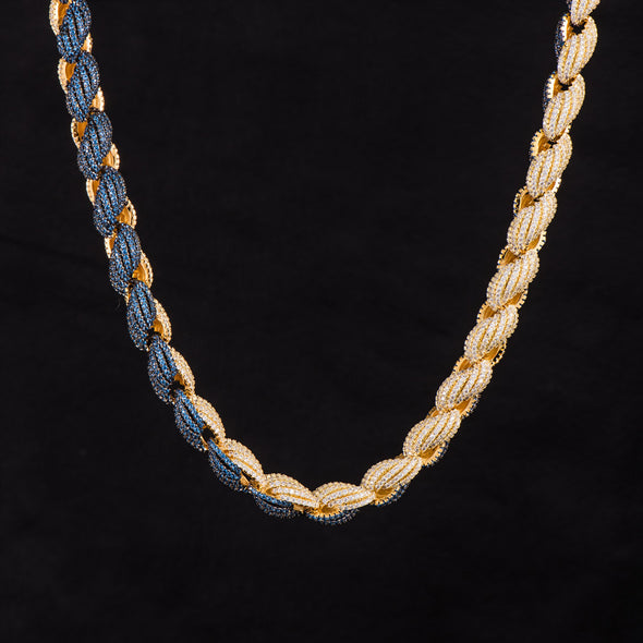[MADE TO ORDER] 10mm Iced Half Blue Half White Rope Chain