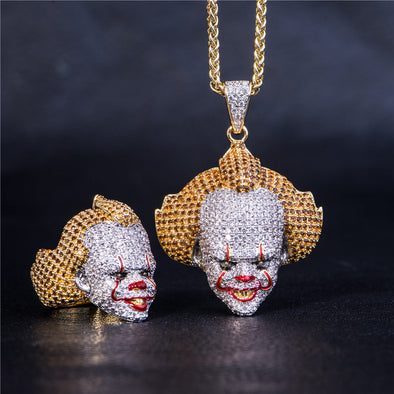 [Only 5 Pieces Left] Iced Clown Ring and Pendant Set
