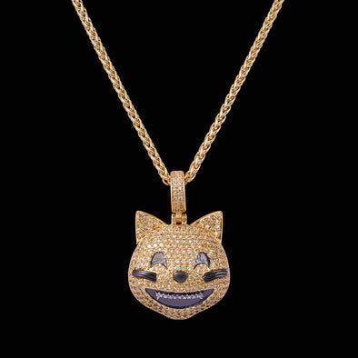 14K Gold Iced Grinning Cat Face Emoji