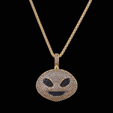 14K Gold Iced Alien Emoji