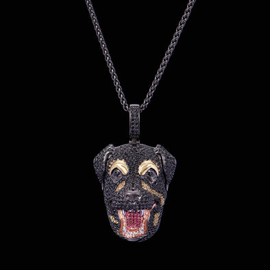 Black Iced Dog Necklace