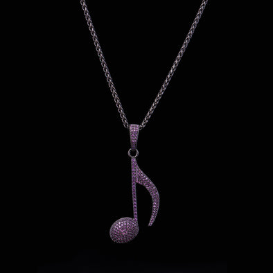 Purple Iced Note Necklace