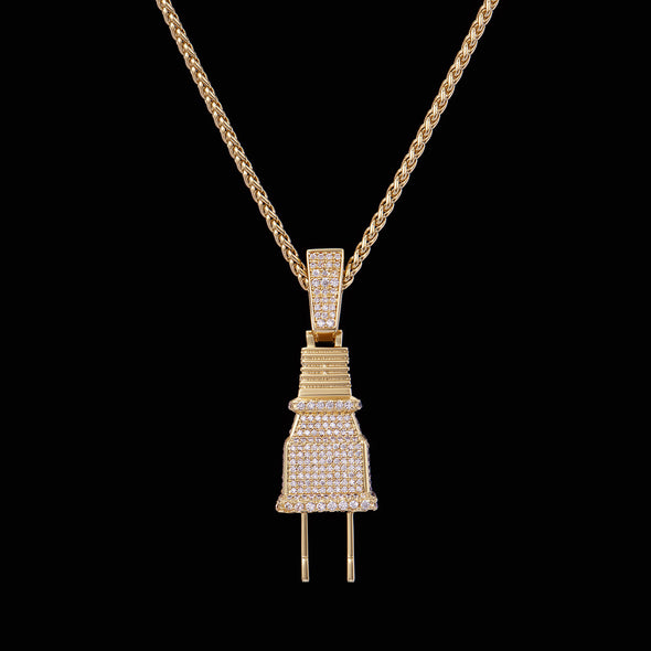 [Only ship to the U.S.] 14K Gold Iced Plug Pendant