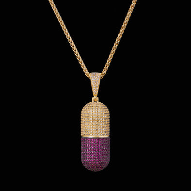 14K Gold Iced Detachable Pill Emoji Pendant